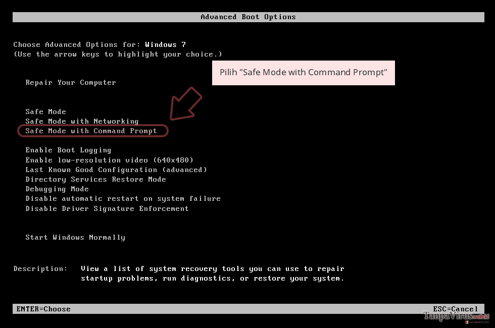 Pilih 'Safe Mode with Command Prompt'
