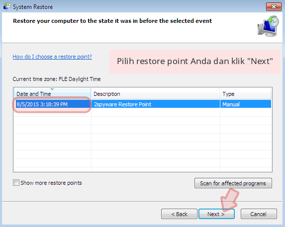 Pilih restore point Anda dan klik 'Next'