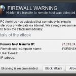 "Pop up ""Firewall Warning"" snapshot"